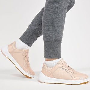 pink and white champion sneakers